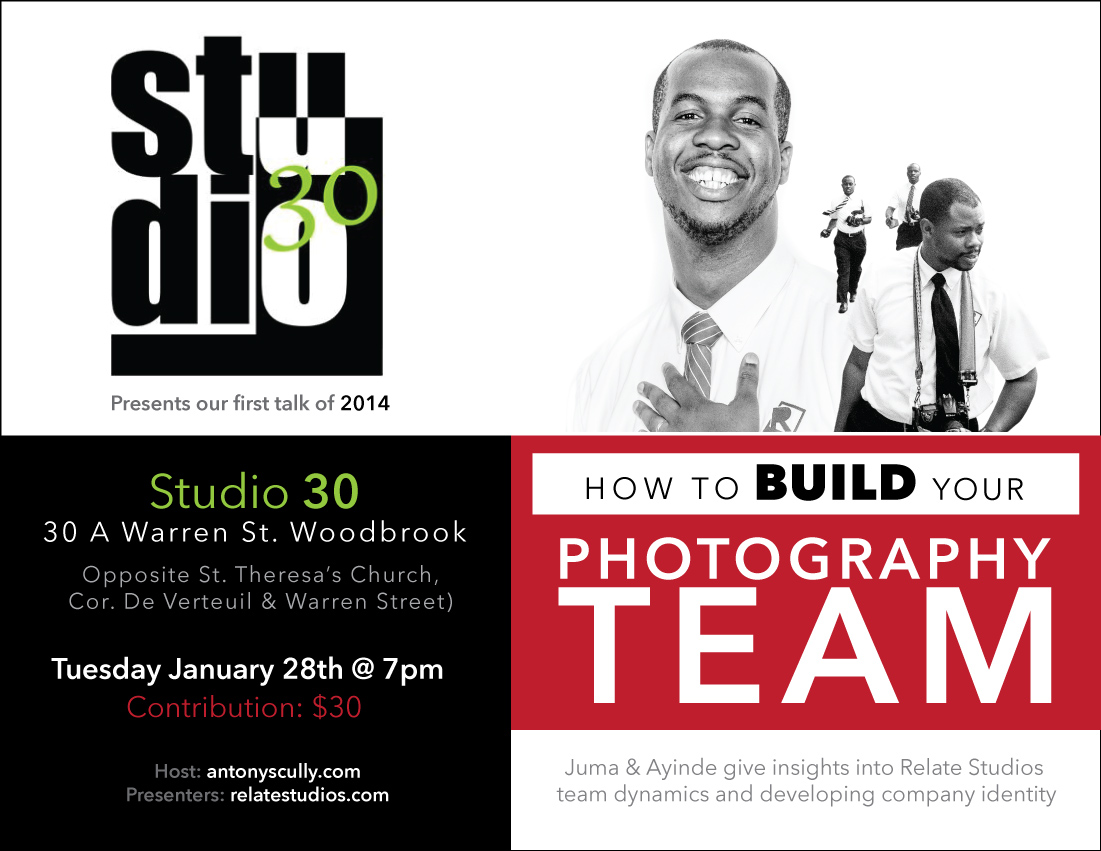 Relate Studios @ Studio 30 - How to build your Photography Team